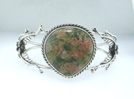 Sterling Silver Unakite Cabachon Stone W/ Floral & Leaf Accent Open Cut Cuff Bracelet