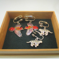 Enamel Sterling Silver Tiger & Bird Clip On Earrings in Bamboo Box