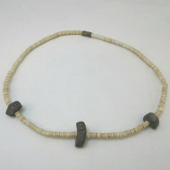 Vintage Unisex Screwback Choker Necklace with Flat Shell & Gray Rock Beads