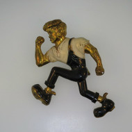 Vintage Gold Tone & Enamel Unsigned Brooch Pin Detailed Cartoon Bully