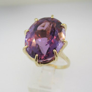 14k Yellow Gold Large Oval Amethyst Ring Size 8 1/4
