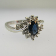 14k White Gold Sapphire Ring with Diamond Accents Size 6 3/4
