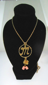 Avon Gold Tone Initial M Charmholder Pendant Necklace W/ Original Box