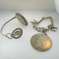 Pair of Vintage Handmade Silver Tone Charm & Cuff Bracelets with Dutch Coins