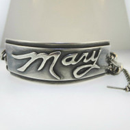 Heavy Vintage Silver Tone I.D. Bracelet Mary Toggle Spacer Chain One Size