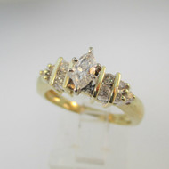 10k Yellow Gold Approx .25ct Marquise Cut Diamond Ring Size 6 3/4