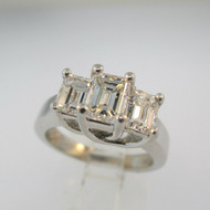 Platinum  .82ct Emerald Cut Diamond Ring Size 5 1/4
