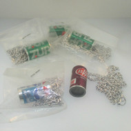 Vintage Lot of Five Toy Vending Prize Soda Pop Can Necklaces