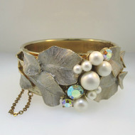 Gold Tone Locking Bangle Bracelet with Safety Chain Leaf Detail Pearls & Aurora Borealis Stones
