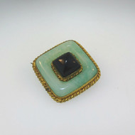 Pretty Vintage Gold Tone Unmarked Square Brooch with Pale Jade & Created Black Stone