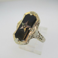 Vintage 14k Yellow Gold Black Onyx and Filigree  Eastern Star Ring Size 7