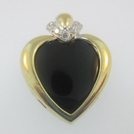 14k Yellow Gold Black Onyx Heart Diamond Accent Pendant