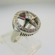 14k White Gold Eastern Star Ring Size 4 1/2