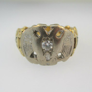14k Yellow Gold Approx .15ct Round Brilliant Cut Diamond Masonic Ring Size 11 3/4