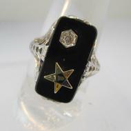 14k White Gold Black Onyx and Filigree Eastern Star Ring Size 7