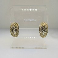Gold Tone Sterling Crescent Shaped Earrings Filigree Design