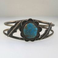 Sterling Silver Vintage Cuff Bracelet Southwestern Turquoise Stone Small Petite Child Size