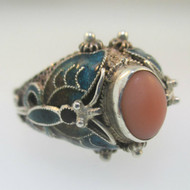 Sterling Silver Pink Coral Butterfly Enamel Ring Size 6