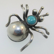 Sterling Silver Spider Bug Turquoise Pin Brooch  Green Bay Wisconsin