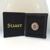 Sterling Rose Gold Plated Opal Blue Green Stone Ring Sz 7 by Stauer in Box