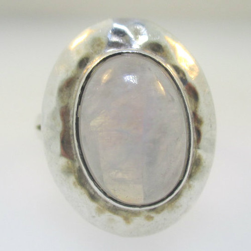 Sterling Silver Large Oval Moonstone Ring Size 10