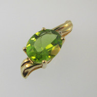 10k Yellow Gold Green Peridot Pendant with Diamond Accent