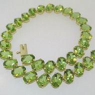 14k Yellow Gold Green Peridot Tennis Bracelet