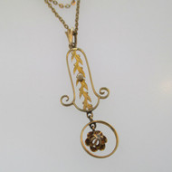 10k Yellow Gold Victorian Antique Edwardian Lavaliere Diamond and Seed Pearl Pendant Necklace