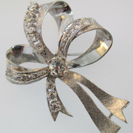 14k White Gold Art Nouveau Estate Approx 2.0ct TW Round Brilliant Cut Diamonds Ribbon Bow Pin Brooch