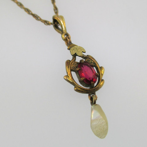 Victorian Antique Yellow Gold Filled Edwardian with Red Stone and Fresh Water Pearl Lavaliere Pendant and Necklace