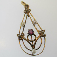 10k Yellow Gold Victorian Antique Edwardian Lavaliere Purple Stone and Seed Pearl Pendant