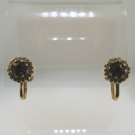 Vintage Gold Tone Screwback Earrings Round Created Amethyst Purple Stone Clear Stone Accents