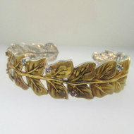 Sterling Silver Gold Tone Leaf Multicolored Stone Cuff Bracelet