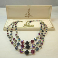 Vintage Multicolored Aurora Borealis Beaded Laguna 3-Strand Necklace in Box