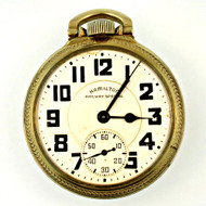 Antique 1942 Hamilton Railway Special 21j 16s 10k Gold Filled Pocket Watch (3005946CB)
