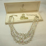 Vintage Clear Aurora Borealis Beaded Rhinestone Laguna 3-Strand Necklace in Box