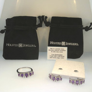 Holsted Jewelers Genuine Amethyst Purple Stone CZ Earrings & Ring Size 7 Set
