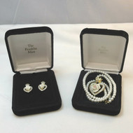 Franklin Mint Y Gold Tone Crowned Heart White 3D Rose CZ Earrings & Necklace Set