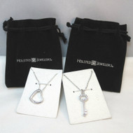 Holsted Jewelers Silver Tone CZ Clear Stone Necklace Bundle Heart Cutout & 3D Skeleton Key Pendants