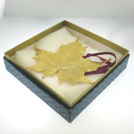 Yellow Gold Plated Real Maple Leaf Ornament or Pendant on Ribbon in Vintage Avon Box