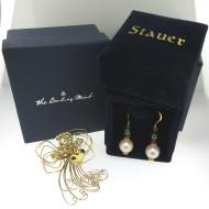 Wire Angel Brooch & Sterling Stauer Emerald Green Ruby Red Pearl Earrings Bundle