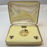 Vintage 12K Gold Filled Signed Brooch Pin Earrings Set Black Clear Stones in Box