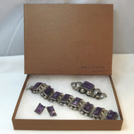 Vintage Sterling Mexico Amethyst Purple Stone Brooch Pin Earrings & Bracelet Set