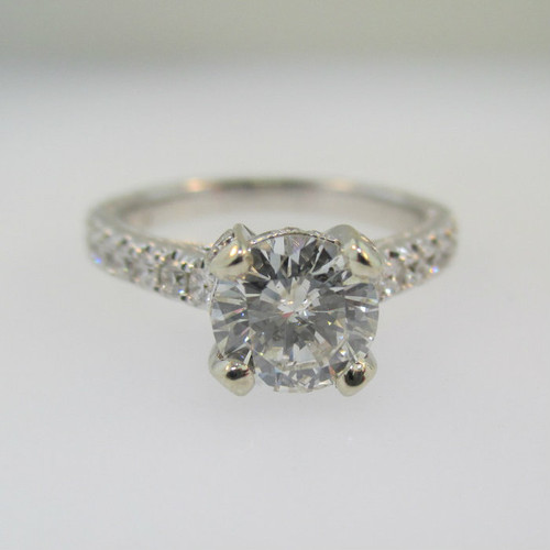 14k Fancy White Gold 1.07ct Round Brilliant Cut Diamond Ring Size 6 1/2