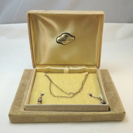Vintage Gold Tone CZ Unsigned Very Long Open Ended Lariat Chain Necklace in Box