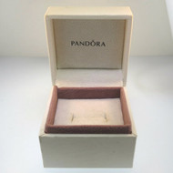 Pandora Signed Authentic White Pink Lined Square Empty Jewelry Ring Gift Box