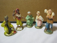 Christmas Nativity Plastic Vintage Figures Lot of 5