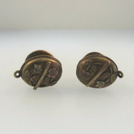 Vintage Gold Tone Oval Unsigned Small Petite Ladies Cufflinks Flower Overlay Design