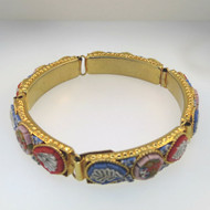 Vintage Gold Tone Micro Mosaic Link Bracelet Multicolored Floral Design Unsigned