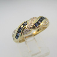 14k Yellow Gold Blue Sapphire and Diamond Band Ring Size 6 1/2